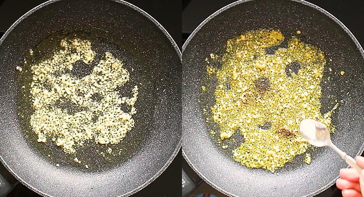 saute garlic and lemon zest and season