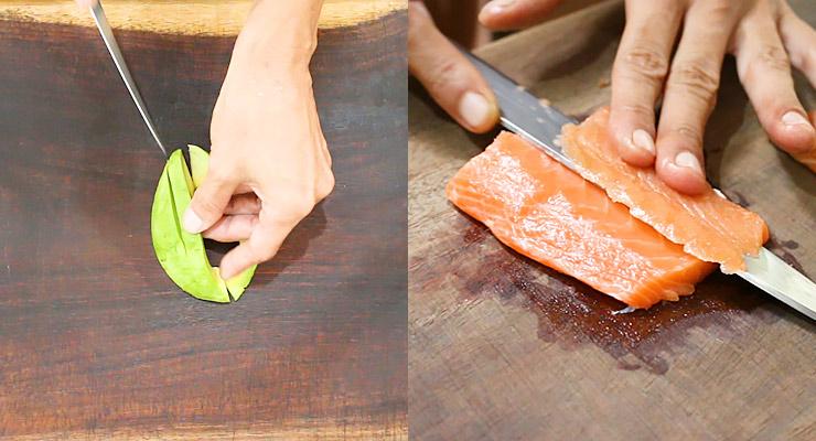 slice avocado and salmon