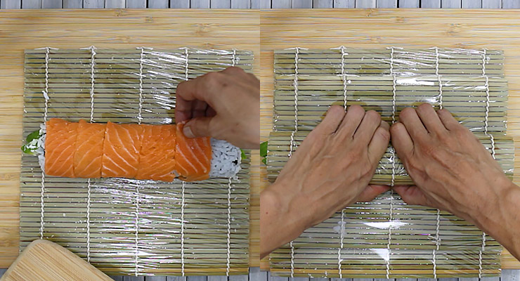 arrange salmon slices over sushi and press down to mold roll