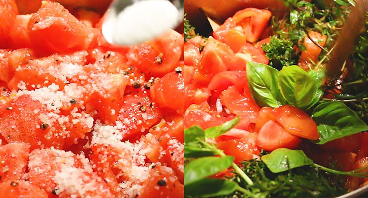 season tomatoes and add herbs