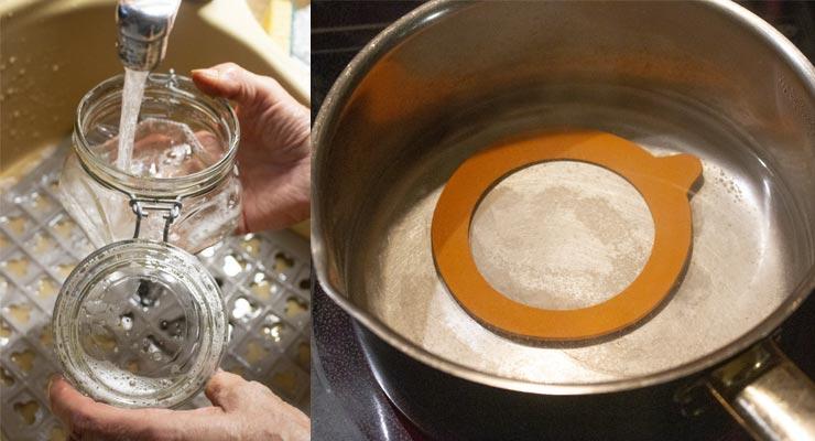 wash jars and boil rubber gasket