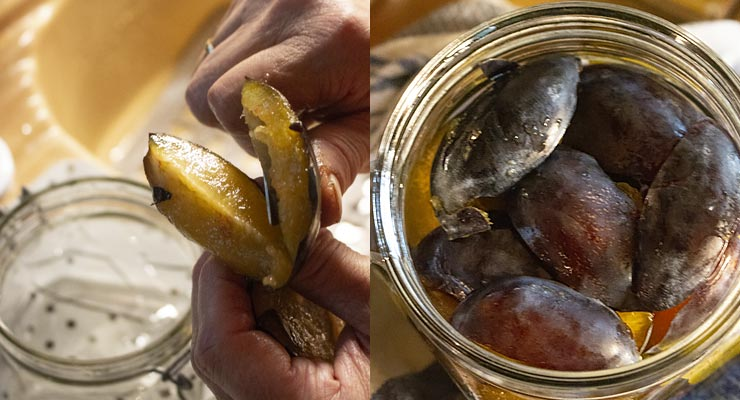 cut plums into quarters and place into jars