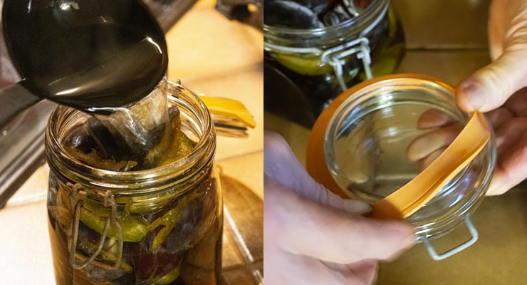 pour syrup over fruits and place rubber gasket over glass lid