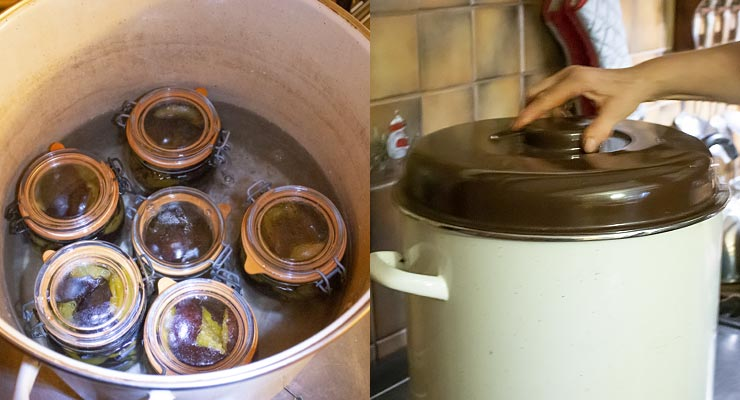 pour water over jars in the canner and close with a lid