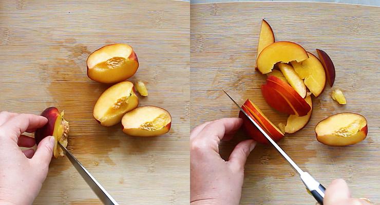 Cut peach into slices.