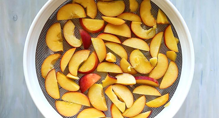 Spread peach slices over dehydrator tray.