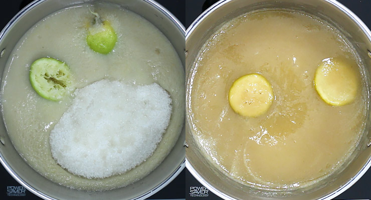 place guava pulp with sugar and lemon into pot and cook down