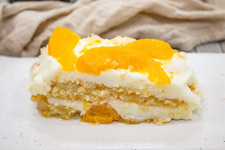 peach dessert with mascarpone