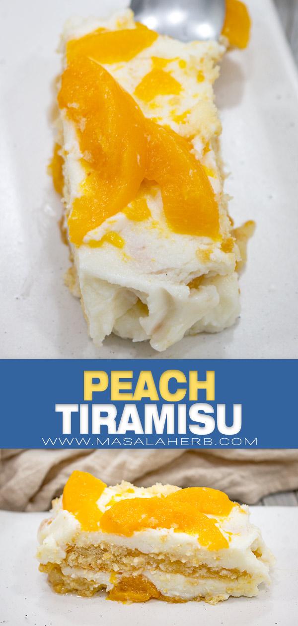 Peach Tiramisu Recipe pin image