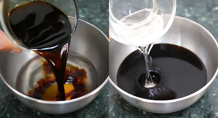 add mirin sugar, soy sauce, citrus fruit juice and vinegar to a mixing bowl