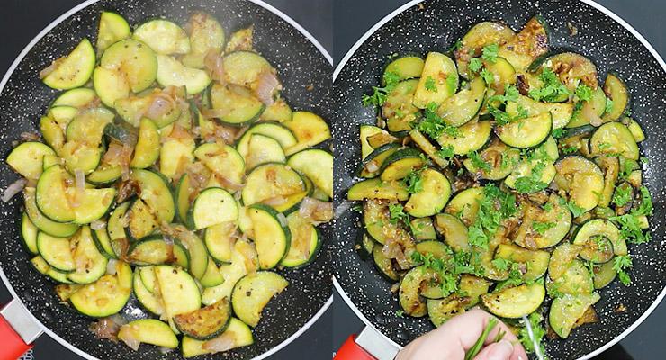 saute zucchini, season