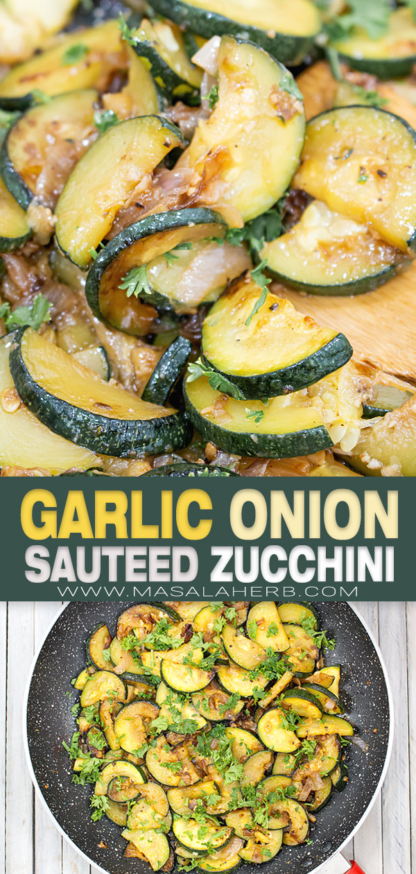 Garlic Onion Sauteed Zucchini Recipe pin image
