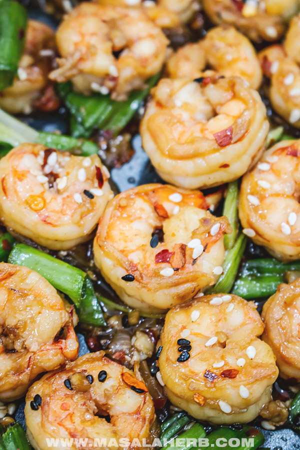 cooked spicy prawns