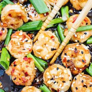 asian stir fry shrimp dish
