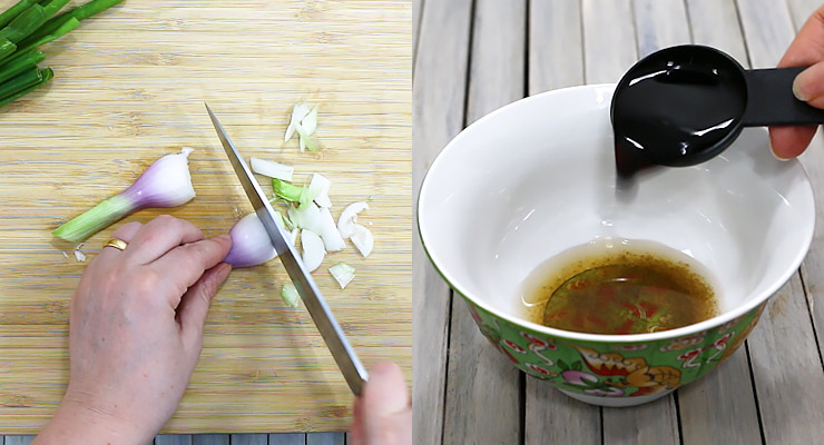 cut onion bulbs and prepare stir fry sauce