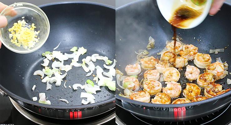 stir cook onion ginger garlic and shrimp with stir fry sauce