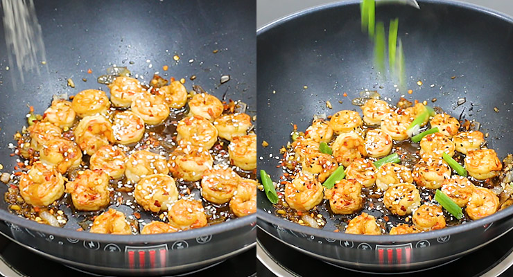 Sprinkle red chili pepper flakes and sesame with spring onion stalks as a topping