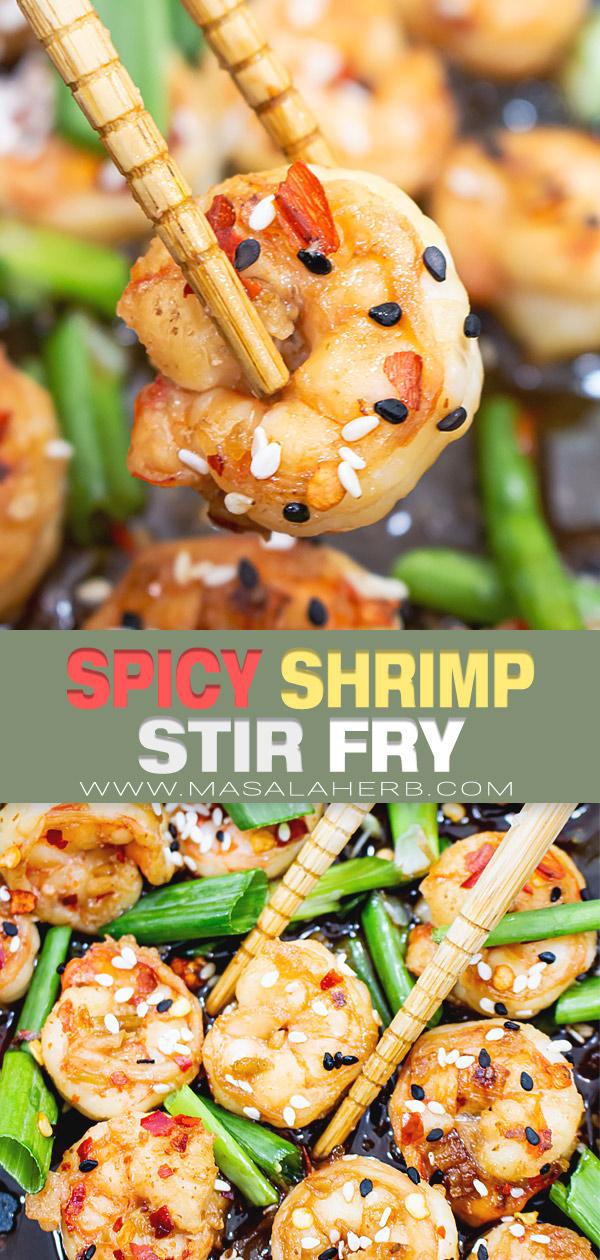Spicy Shrimp Stir Fry Recipe pin image