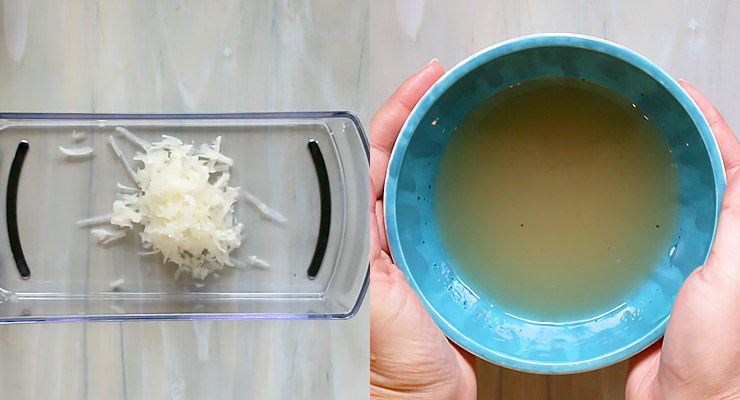 shred turnips and prepare dressing
