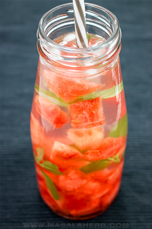 close up watermelon infused water