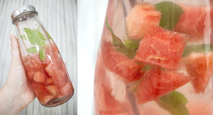 leave watermelon to infuse water