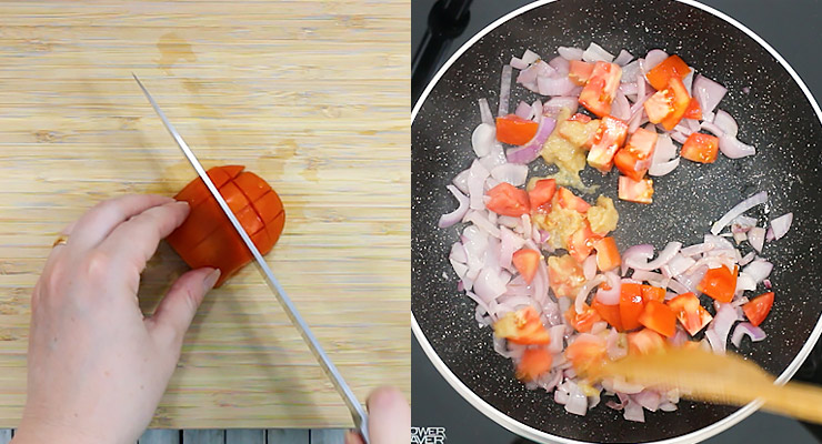 prepare fresh ingredients and saute