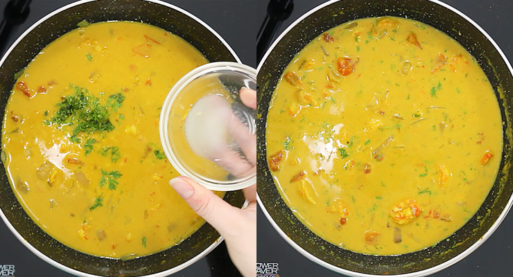simmer curry, take from the heat and add lime juice and cilantro