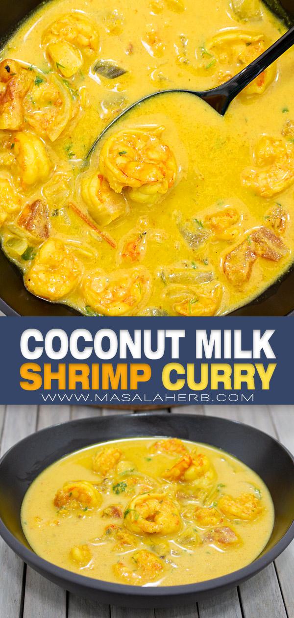 Coconut Milk Shrimp Curry Recipe pin image