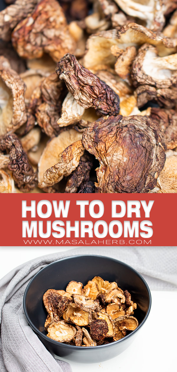 How to dehydrate Mushrooms pin image