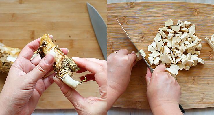 cut and peel horseradish