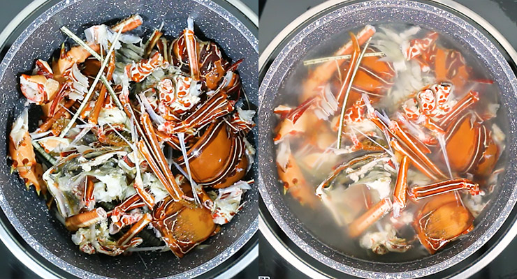 place lobster shells in a pot with water