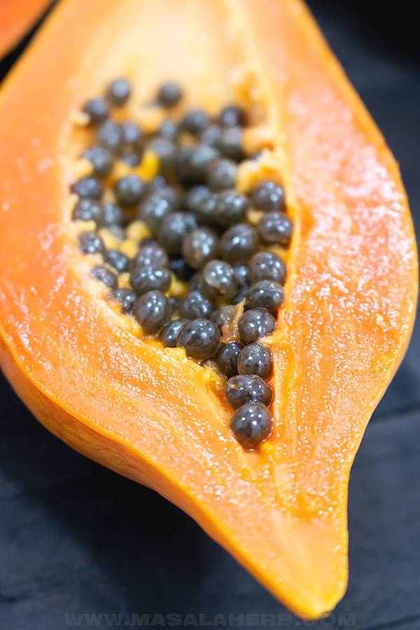 papaya seeds close up