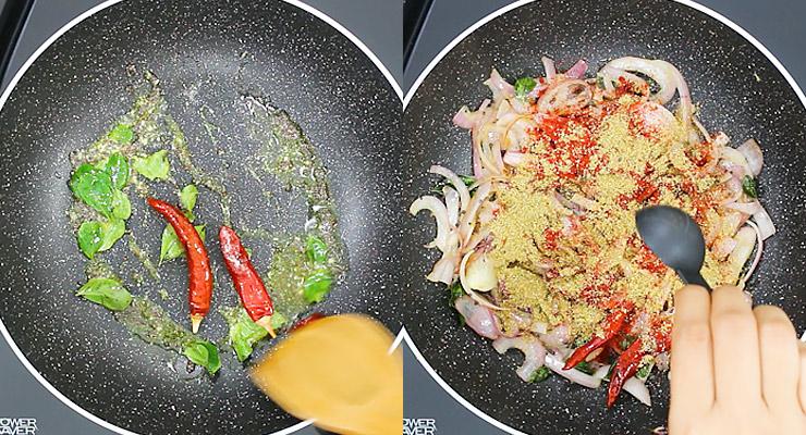 temper spices add onions