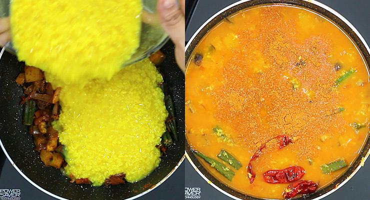 stir in lentils and cook sambar