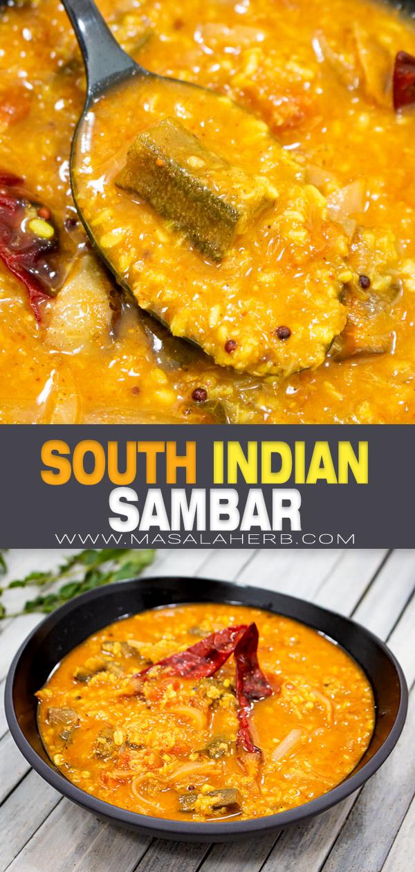 South Indian Sambar Recipe pin image