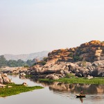 Tungabhadra river in a coracle hampi